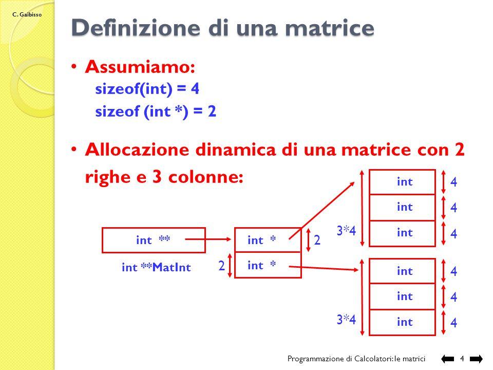 C. Gaibisso Allocazione dinamica di una matrice Programmazione di Calcolatori: le matrici3 tipo Mat **nome Mat Modifiche allo stato della memoria: nro