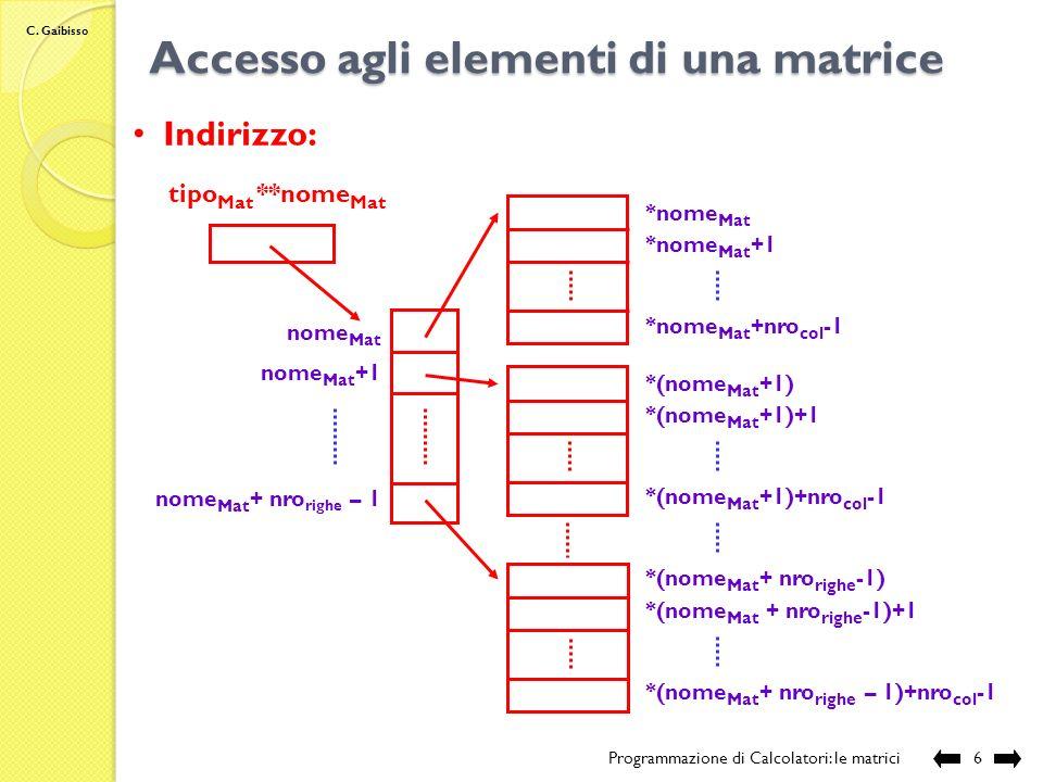 C. Gaibisso Definizione di una matrice Programmazione di Calcolatori: le matrici5 Allocazione dinamica di una matrice con 2 righe e 3 colonne: int **M