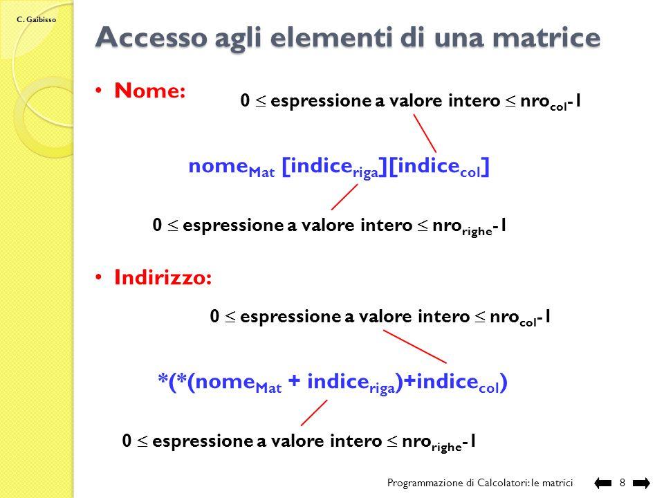 C. Gaibisso Accesso agli elementi di una matrice Programmazione di Calcolatori: le matrici7 Contenuto: *(*(nome Mat +1) ) *(*(nome Mat +1)+1) *(*(nome
