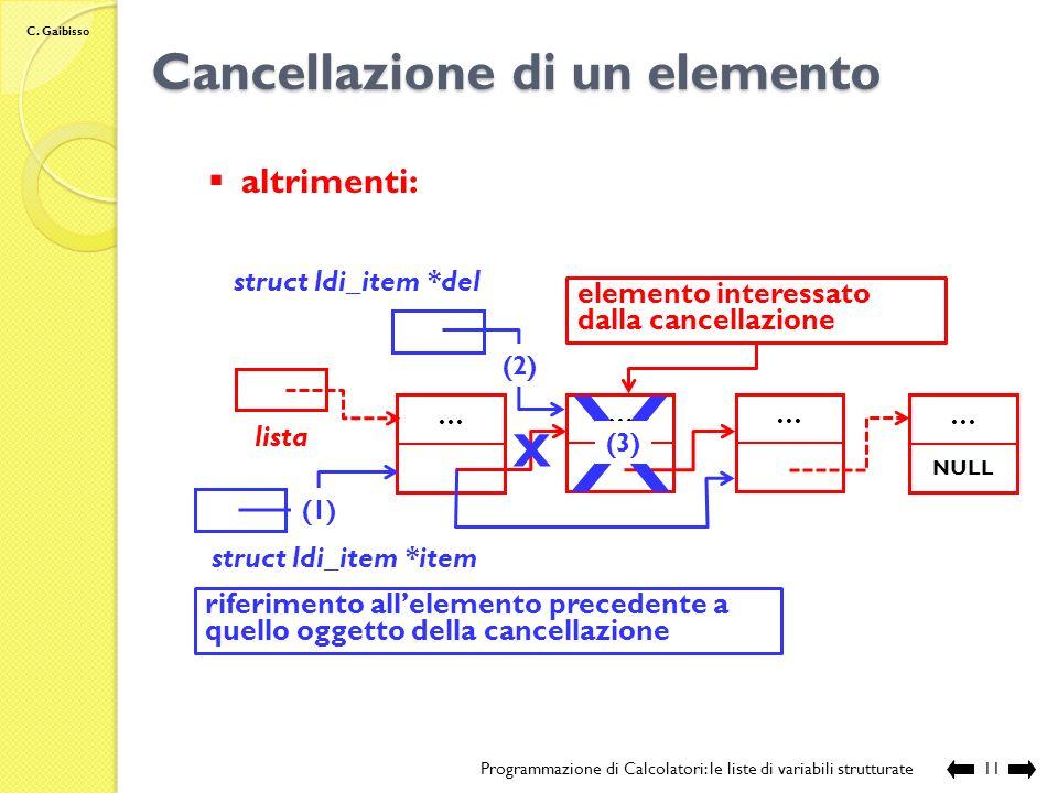 C. Gaibisso Cancellazione di un elemento Programmazione di Calcolatori: le liste di variabili strutturate10 La logica: primo della lista: struct ldi_i