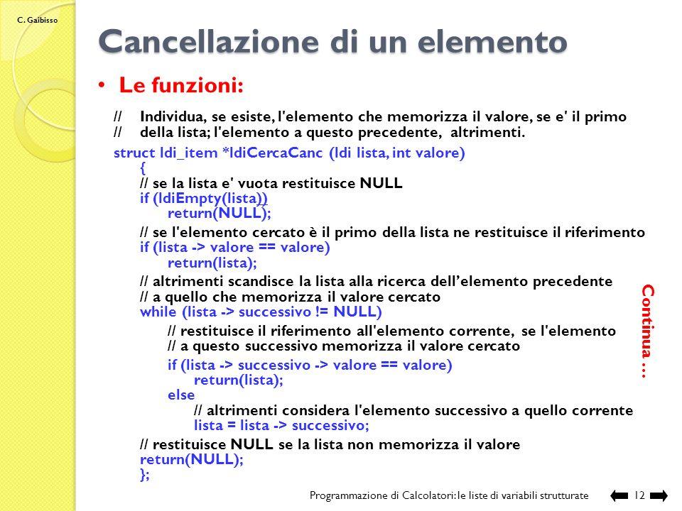 C. Gaibisso Cancellazione di un elemento Programmazione di Calcolatori: le liste di variabili strutturate11 altrimenti: struct ldi_item *del lista ……