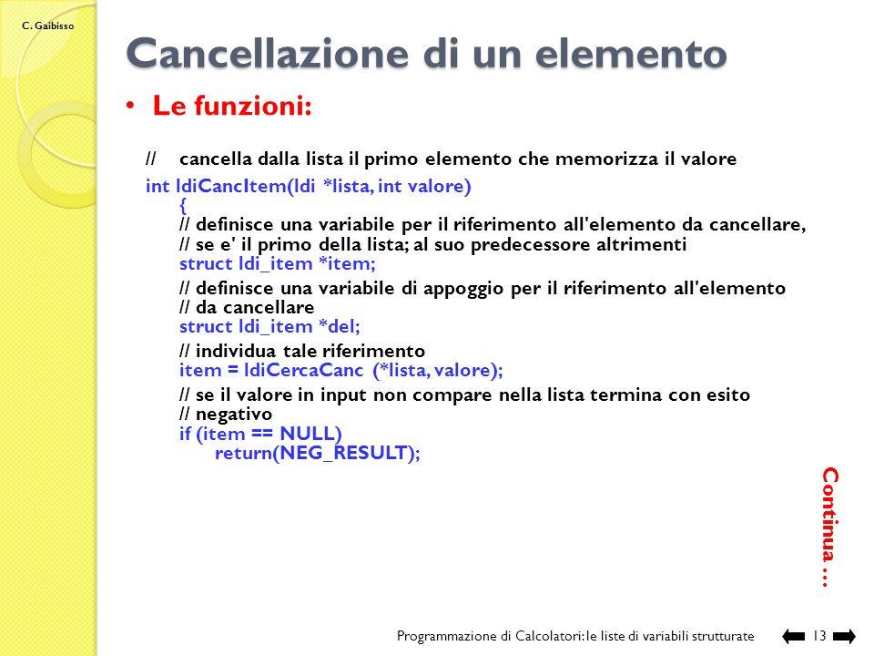 C. Gaibisso Cancellazione di un elemento Programmazione di Calcolatori: le liste di variabili strutturate12 //Individua, se esiste, l'elemento che mem