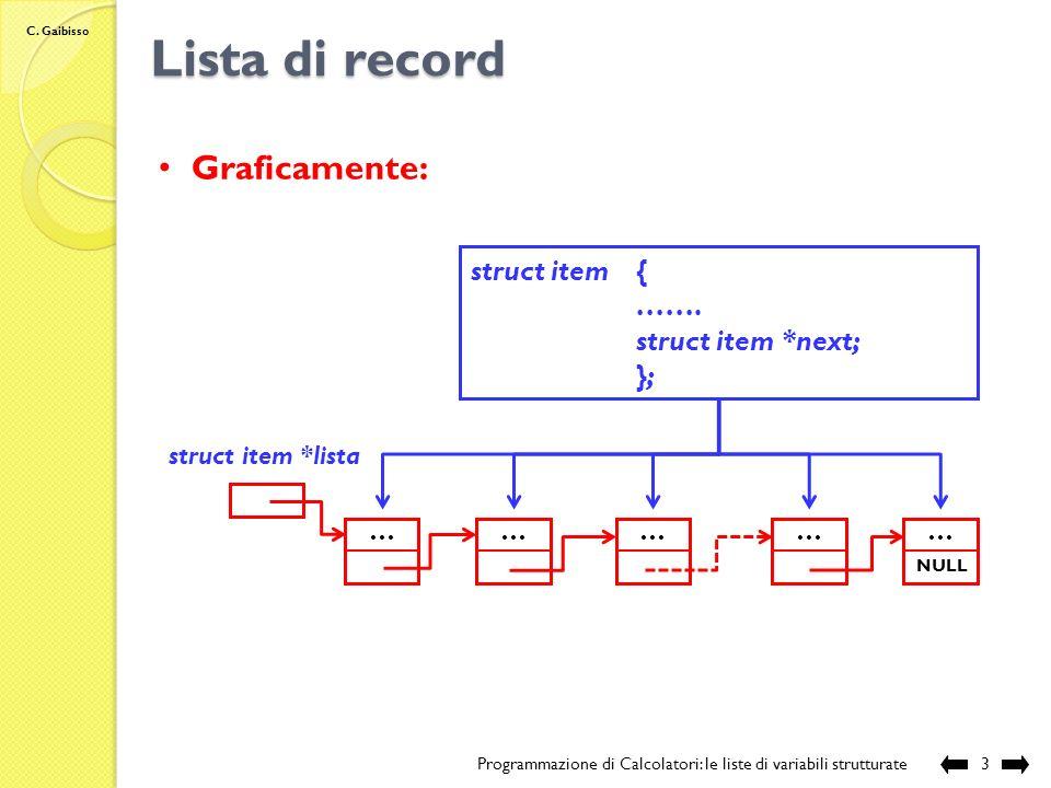 C. Gaibisso Lista di record Programmazione di Calcolatori: le liste di variabili strutturate2 Definizione: -insieme omogeneo di record collegati tra l