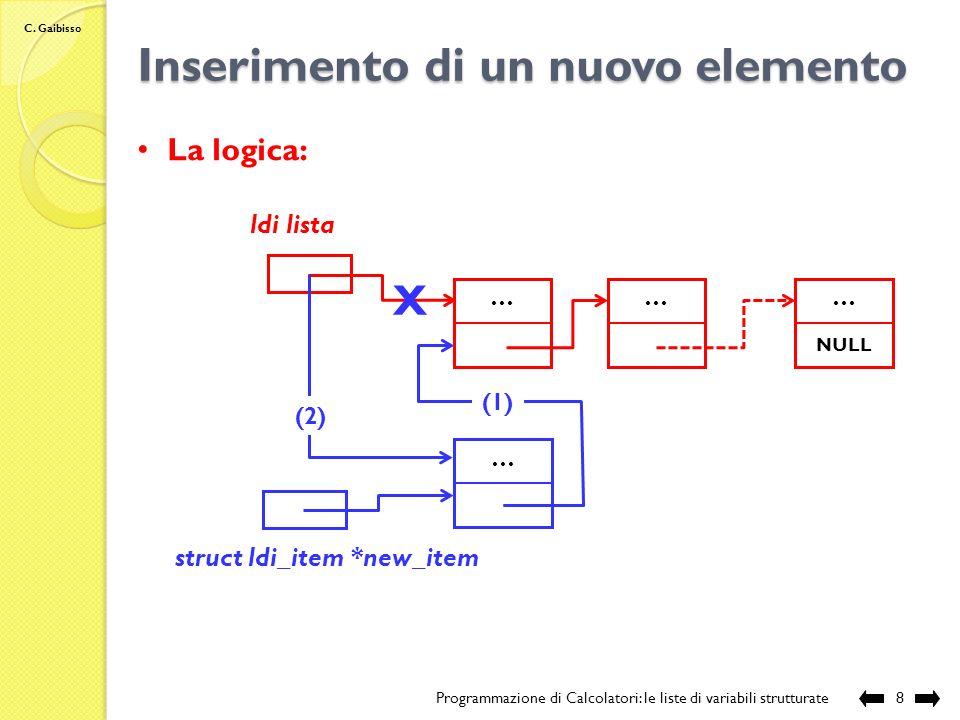 C. Gaibisso Scansione di una lista Programmazione di Calcolatori: le liste di variabili strutturate7 La logica: Il codice: ldi lista …… NULL …… struct