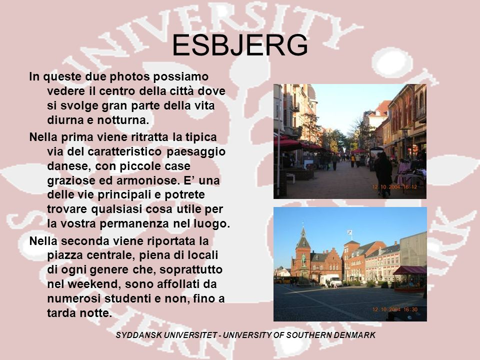 SYDDANSK UNIVERSITET - UNIVERSITY OF SOUTHERN DENMARK ESBJERG In queste due photos possiamo vedere il centro della città dove si svolge gran parte della vita diurna e notturna.