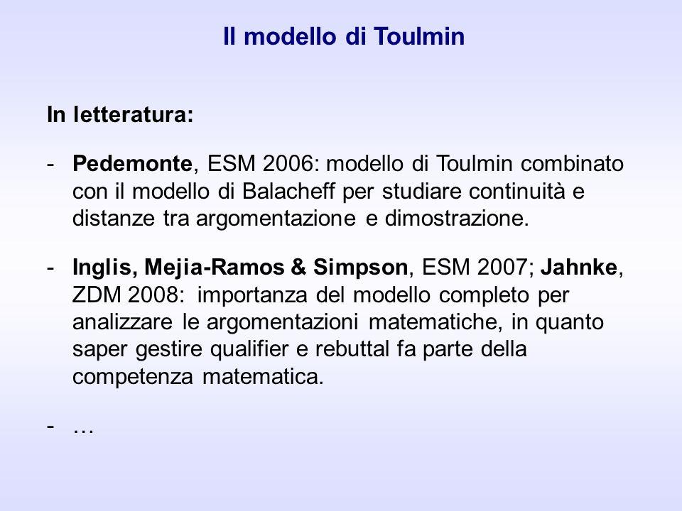 In letteratura: -Pedemonte, ESM 2006: modello di Toulmin combinato con il modello di Balacheff per studiare continuità e distanze tra argomentazione e