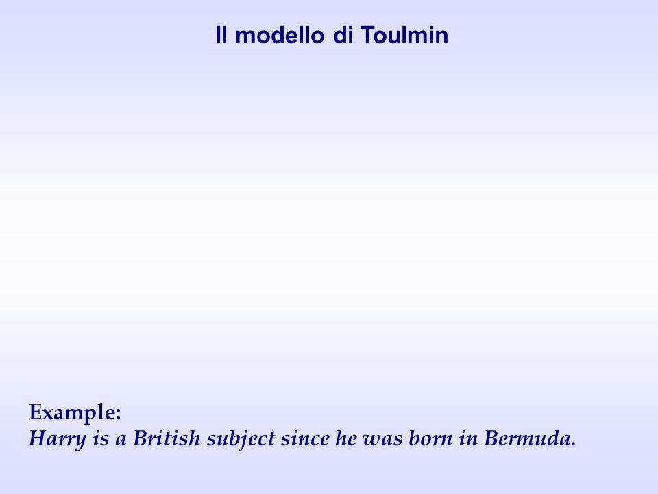 Il modello di Toulmin Example: Harry is a British subject since he was born in Bermuda.