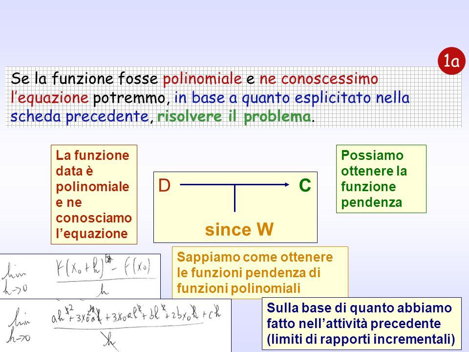 Se la funzione fosse polinomiale e ne conoscessimo lequazione potremmo, in base a quanto esplicitato nella scheda precedente, risolvere il problema. 1