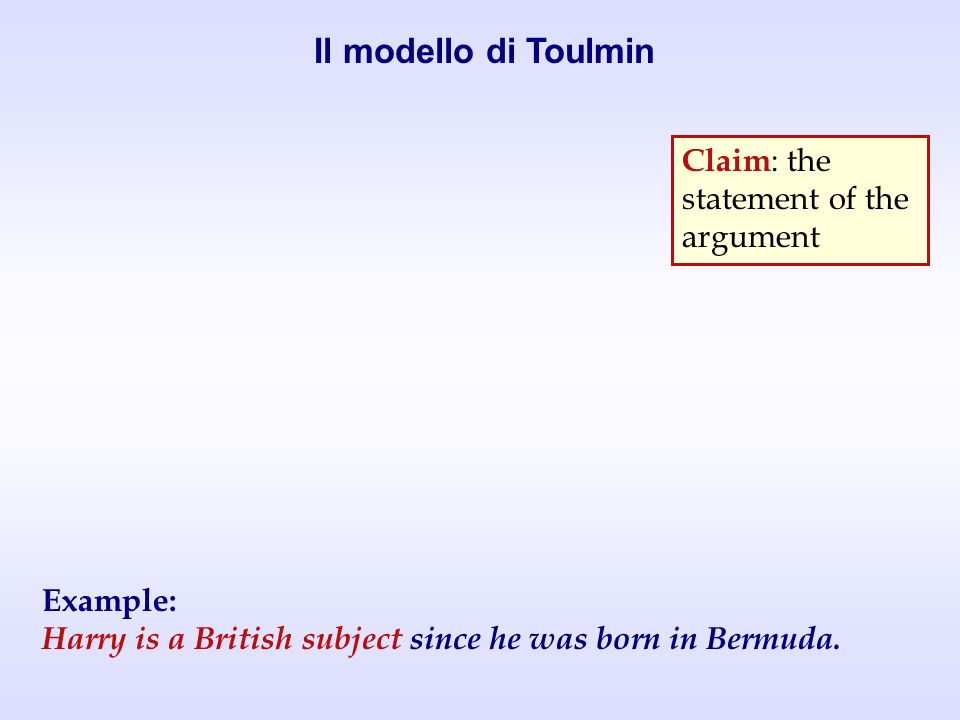 Claim : the statement of the argument Example: Harry is a British subject since he was born in Bermuda.