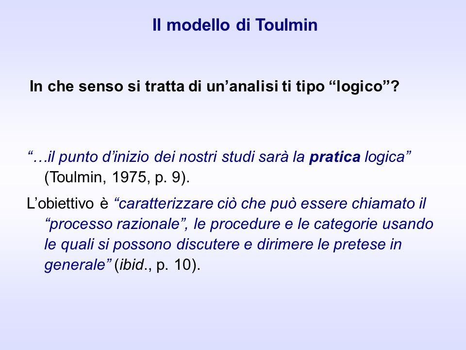 …il punto dinizio dei nostri studi sarà la pratica logica (Toulmin, 1975, p. 9). Lobiettivo è caratterizzare ciò che può essere chiamato il processo r