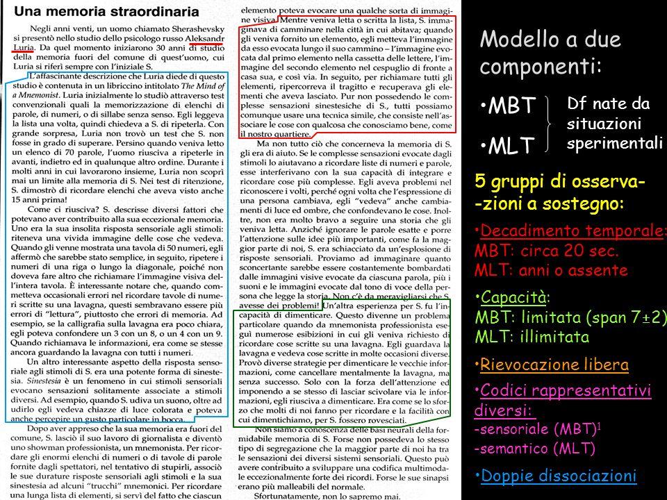 Quante memorie esistono? Modello a due componenti: MBT MLT Rievocazione libera Decadimento temporale: MBT: circa 20 sec. MLT: anni o assente Codici ra