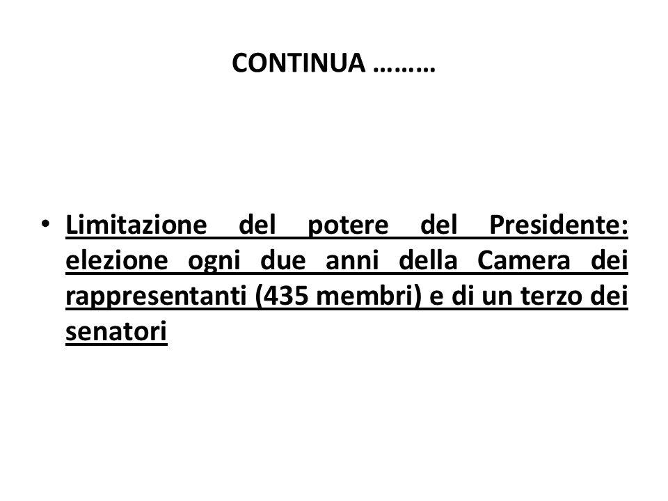 CONTINUA ……… Limitazione del potere del Presidente: elezione ogni due anni della Camera dei rappresentanti (435 membri) e di un terzo dei senatori