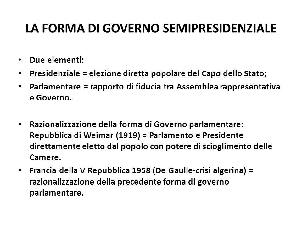 LA FORMA DI GOVERNO SEMIPRESIDENZIALE Due elementi: Presidenziale = elezione diretta popolare del Capo dello Stato; Parlamentare = rapporto di fiducia