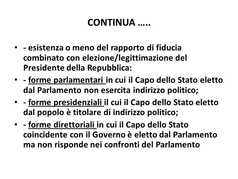 CONTINUA ….. - esistenza o meno del rapporto di fiducia combinato con elezione/legittimazione del Presidente della Repubblica: - forme parlamentari in