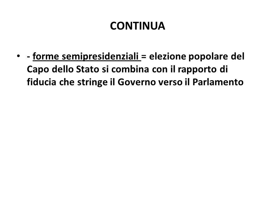 CONTINUA - forme semipresidenziali = elezione popolare del Capo dello Stato si combina con il rapporto di fiducia che stringe il Governo verso il Parl