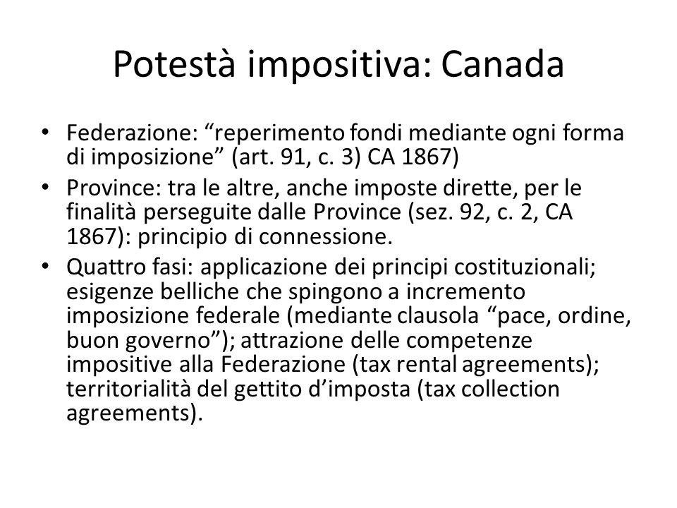 Potestà impositiva: Canada Federazione: reperimento fondi mediante ogni forma di imposizione (art.