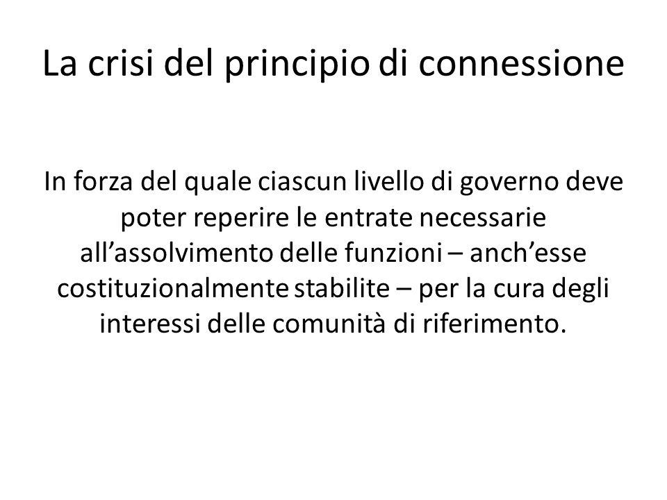 La crisi del principio di connessione In forza del quale ciascun livello di governo deve poter reperire le entrate necessarie allassolvimento delle funzioni – anchesse costituzionalmente stabilite – per la cura degli interessi delle comunità di riferimento.