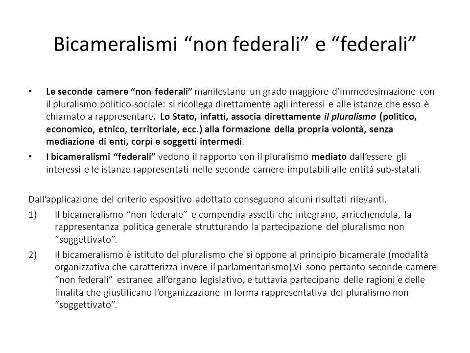 Bicameralismi non federali e federali Le seconde camere non federali manifestano un grado maggiore dimmedesimazione con il pluralismo politico-sociale