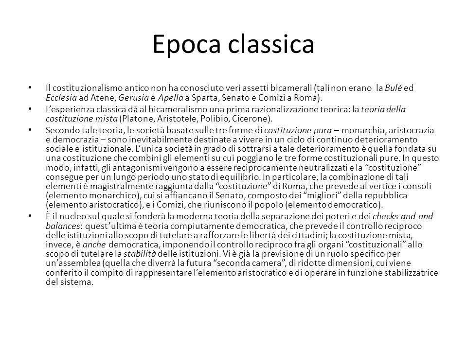Epoca classica Il costituzionalismo antico non ha conosciuto veri assetti bicamerali (tali non erano la Bulé ed Ecclesia ad Atene, Gerusia e Apella a