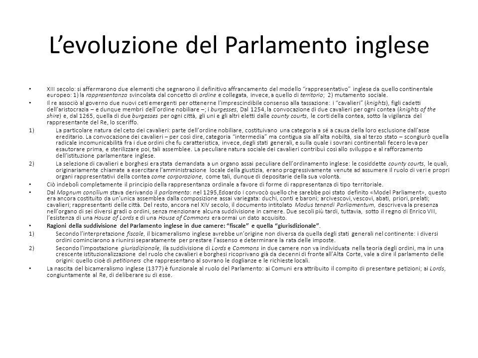 Levoluzione del Parlamento inglese XIII secolo: si affermarono due elementi che segnarono il definitivo affrancamento del modello rappresentativo ingl