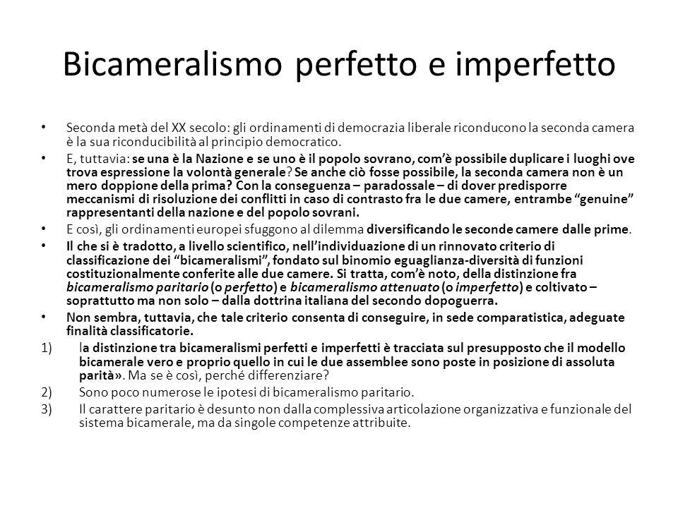 Bicameralismo perfetto e imperfetto Seconda metà del XX secolo: gli ordinamenti di democrazia liberale riconducono la seconda camera è la sua riconduc