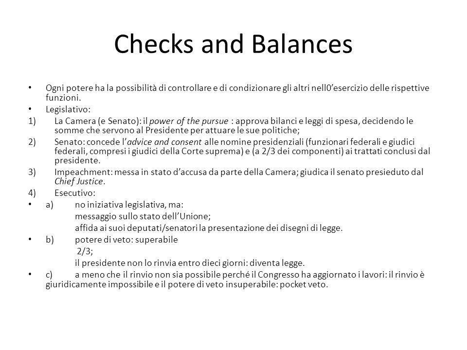Checks and Balances Ogni potere ha la possibilità di controllare e di condizionare gli altri nell0esercizio delle rispettive funzioni. Legislativo: 1)