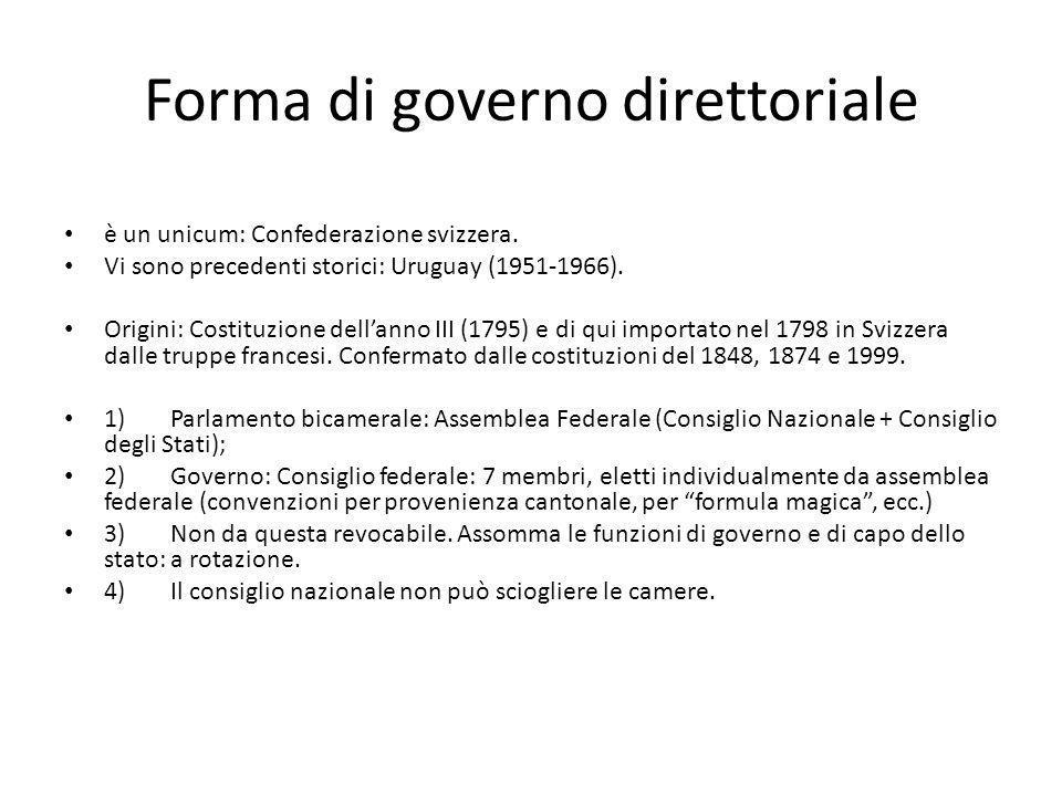Forma di governo direttoriale è un unicum: Confederazione svizzera. Vi sono precedenti storici: Uruguay (1951-1966). Origini: Costituzione dellanno II