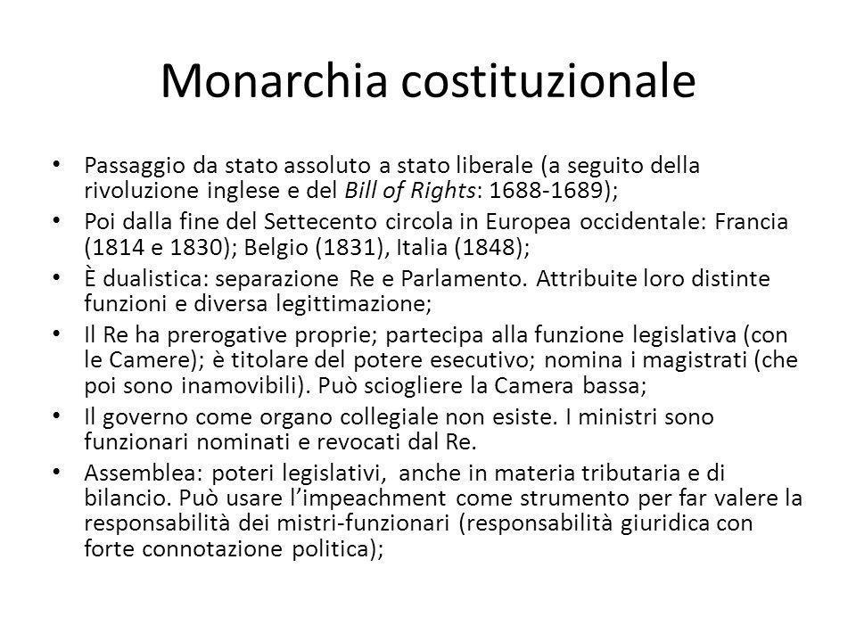 Monarchia costituzionale Passaggio da stato assoluto a stato liberale (a seguito della rivoluzione inglese e del Bill of Rights: 1688-1689); Poi dalla