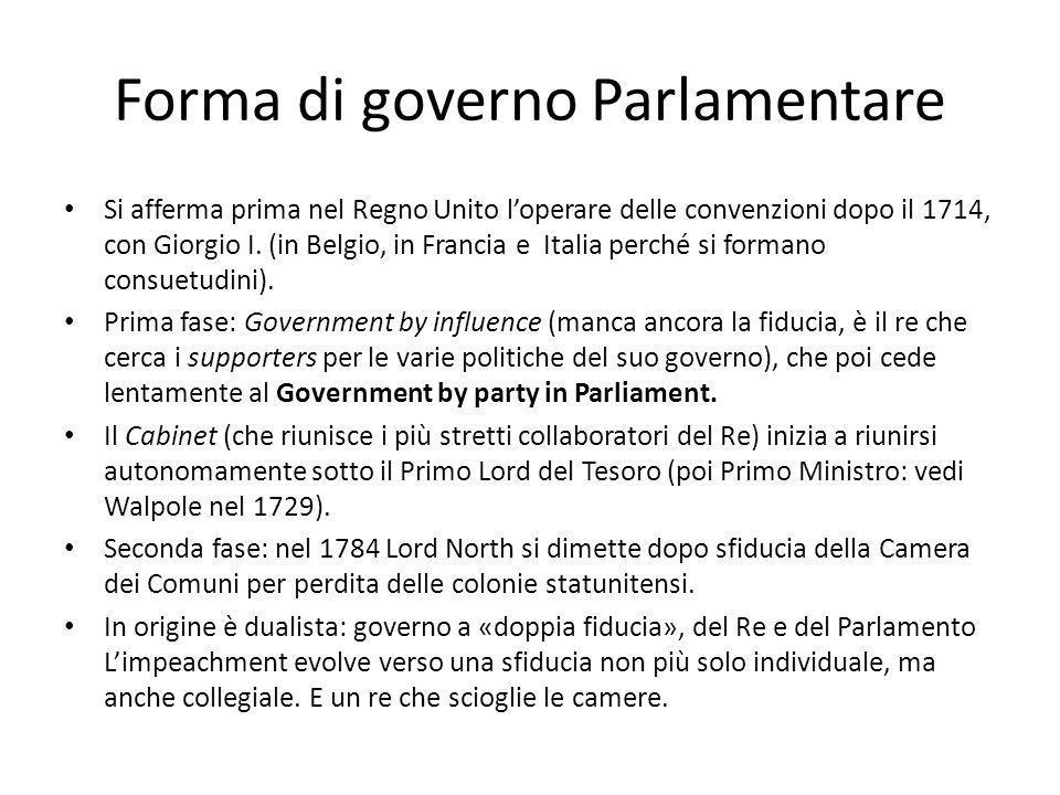 Forma di governo Parlamentare Si afferma prima nel Regno Unito loperare delle convenzioni dopo il 1714, con Giorgio I. (in Belgio, in Francia e Italia