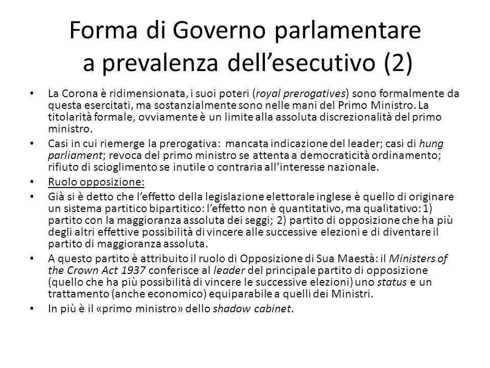 Forma di Governo parlamentare a prevalenza dellesecutivo (2) La Corona è ridimensionata, i suoi poteri (royal prerogatives) sono formalmente da questa
