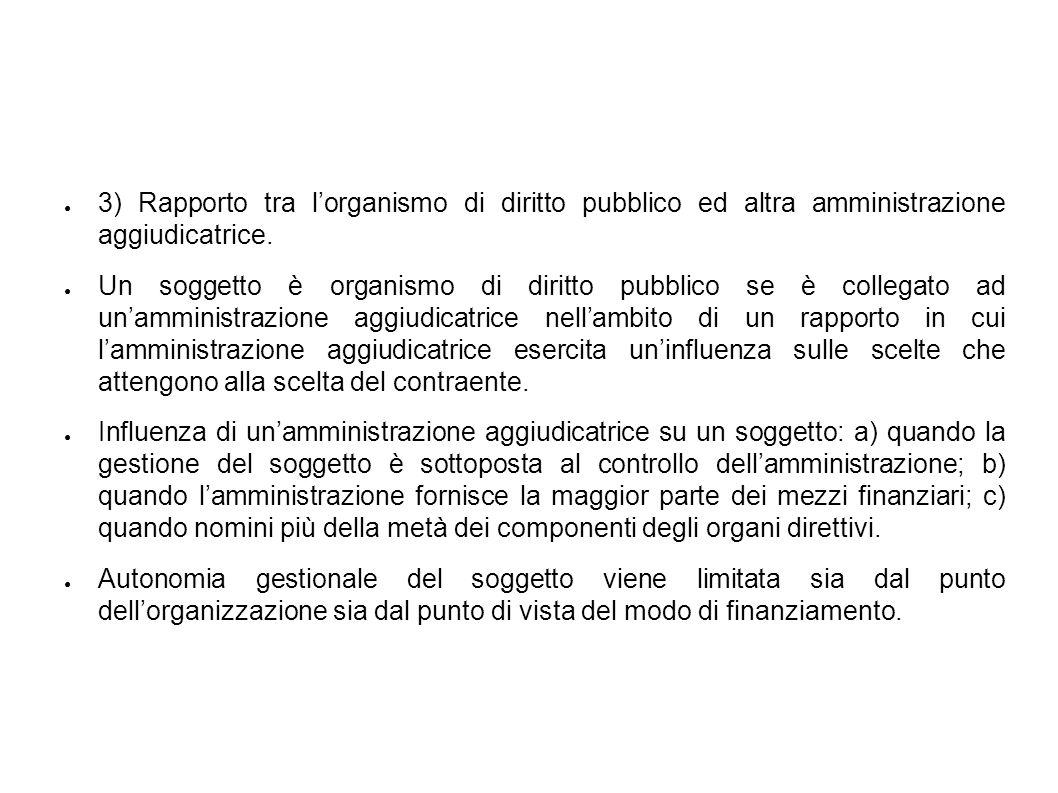 3) Rapporto tra lorganismo di diritto pubblico ed altra amministrazione aggiudicatrice.