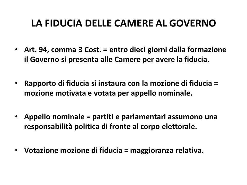 LA FIDUCIA DELLE CAMERE AL GOVERNO Art. 94, comma 3 Cost. = entro dieci giorni dalla formazione il Governo si presenta alle Camere per avere la fiduci
