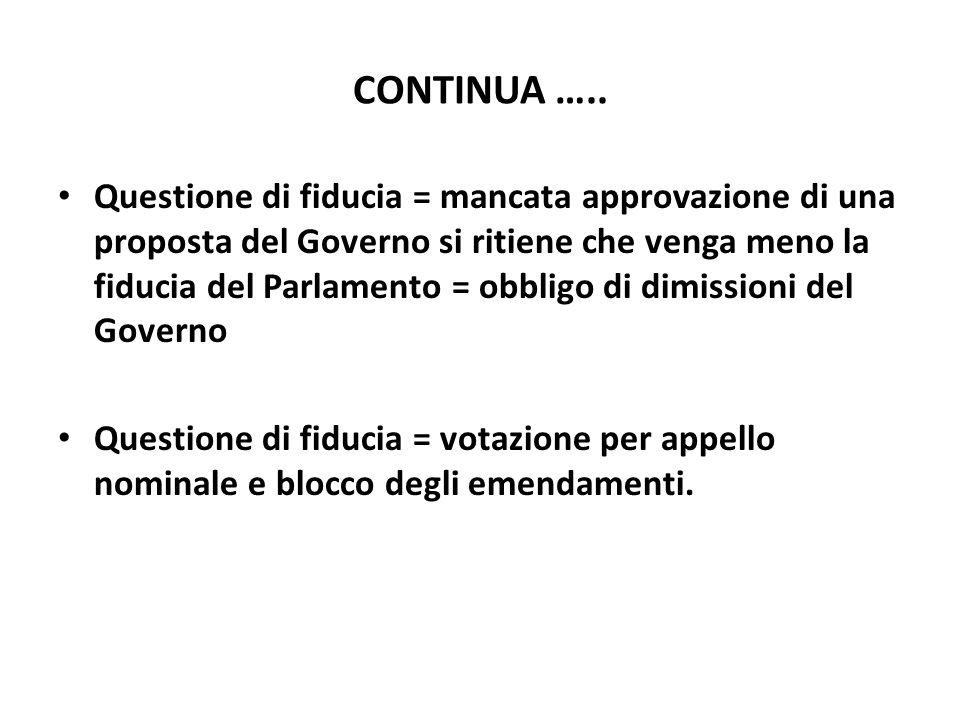 CONTINUA ….. Questione di fiducia = mancata approvazione di una proposta del Governo si ritiene che venga meno la fiducia del Parlamento = obbligo di