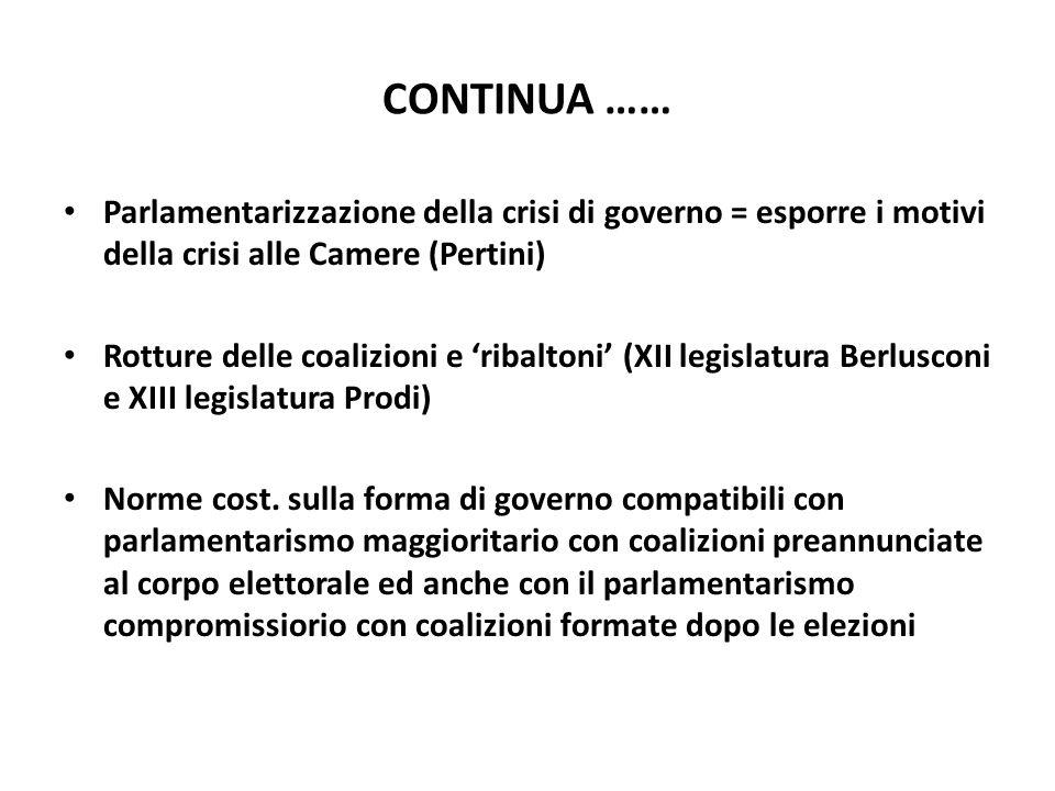 CONTINUA …… Parlamentarizzazione della crisi di governo = esporre i motivi della crisi alle Camere (Pertini) Rotture delle coalizioni e ribaltoni (XII