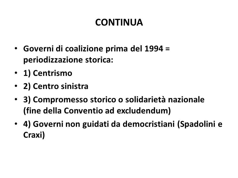 CONTINUA Governi di coalizione prima del 1994 = periodizzazione storica: 1) Centrismo 2) Centro sinistra 3) Compromesso storico o solidarietà nazional