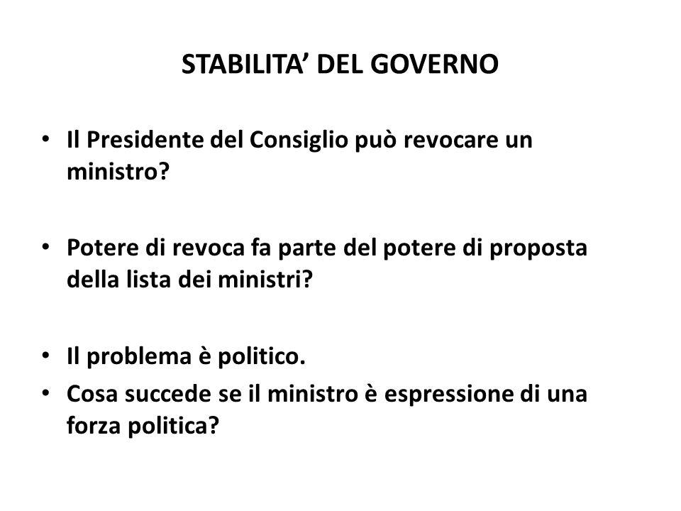 STABILITA DEL GOVERNO Il Presidente del Consiglio può revocare un ministro? Potere di revoca fa parte del potere di proposta della lista dei ministri?