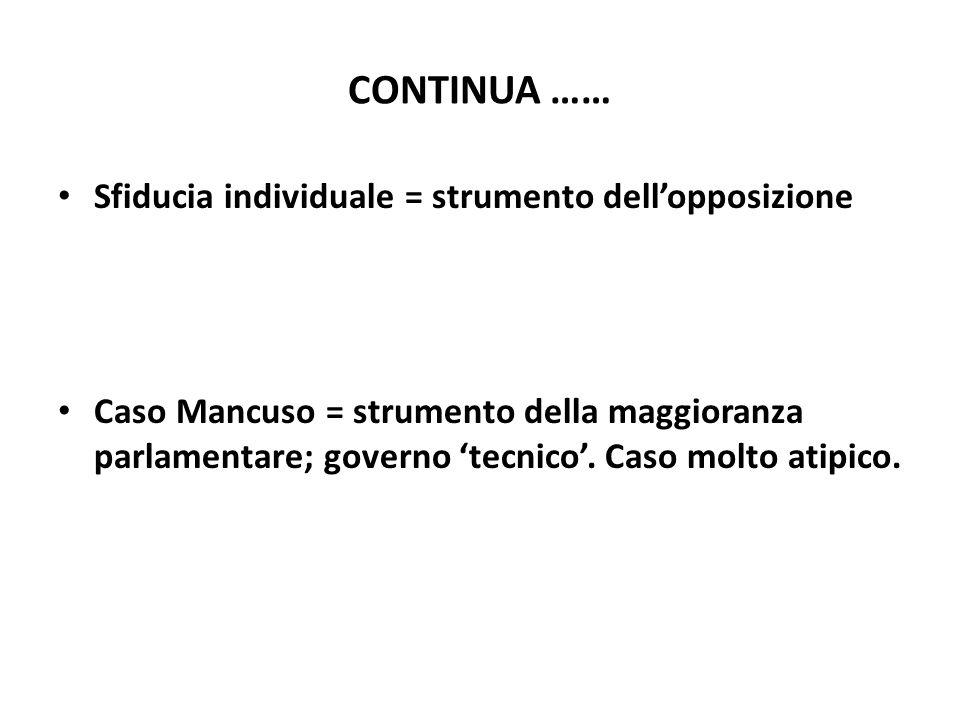 CONTINUA …… Sfiducia individuale = strumento dellopposizione Caso Mancuso = strumento della maggioranza parlamentare; governo tecnico. Caso molto atip