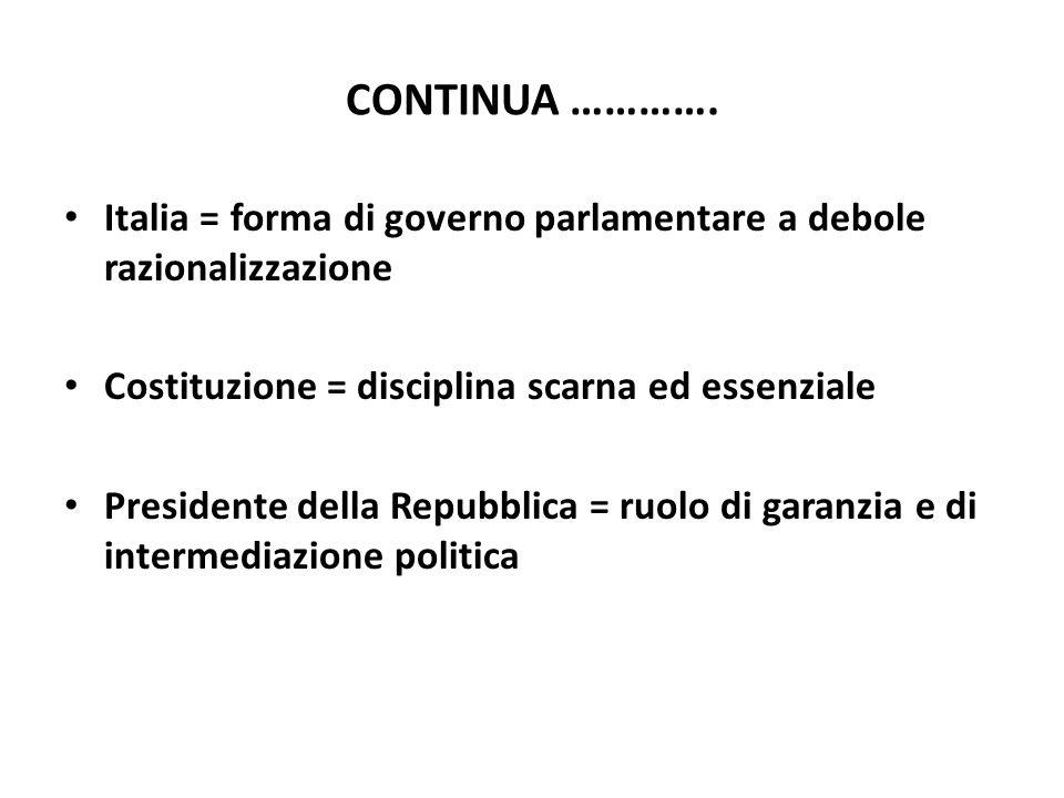 CONTINUA …………. Italia = forma di governo parlamentare a debole razionalizzazione Costituzione = disciplina scarna ed essenziale Presidente della Repub