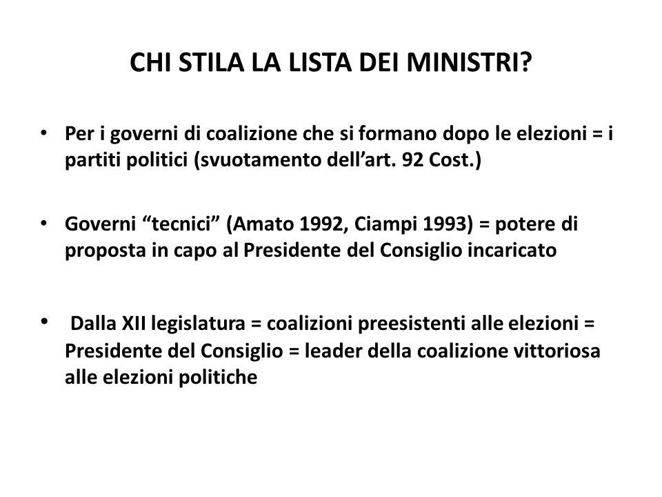 CHI STILA LA LISTA DEI MINISTRI? Per i governi di coalizione che si formano dopo le elezioni = i partiti politici (svuotamento dellart. 92 Cost.) Gove