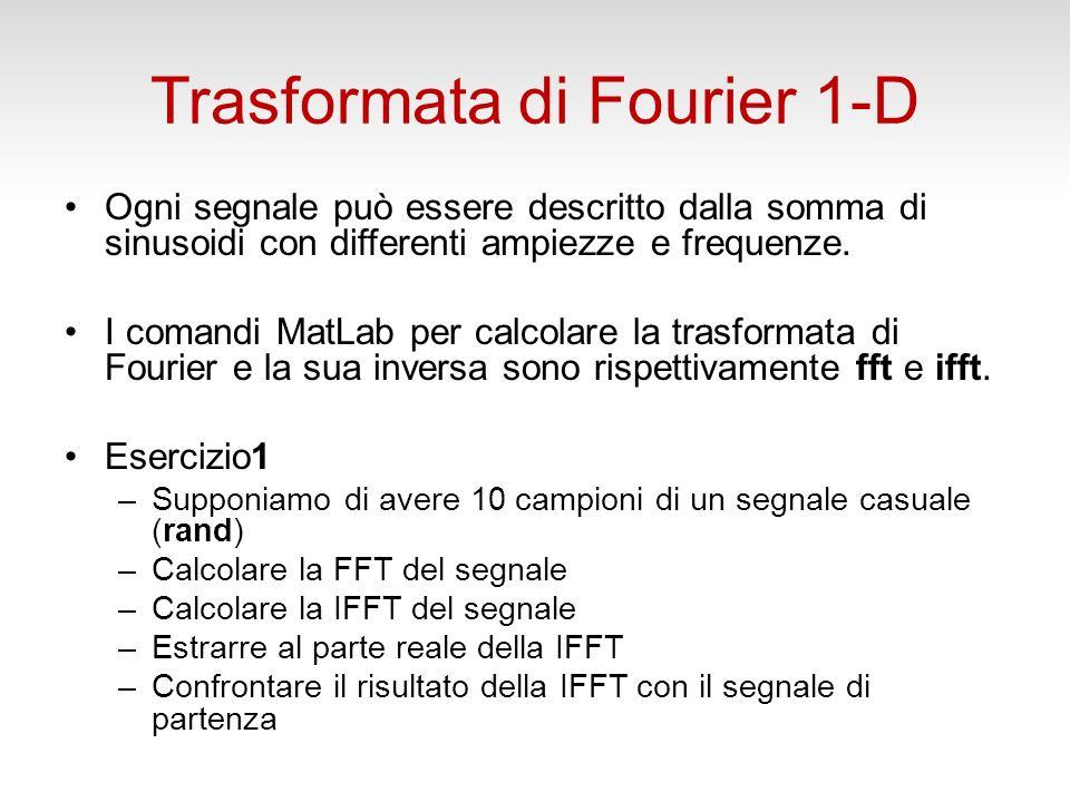 Trasformata di Fourier 1-D Ogni segnale può essere descritto dalla somma di sinusoidi con differenti ampiezze e frequenze.