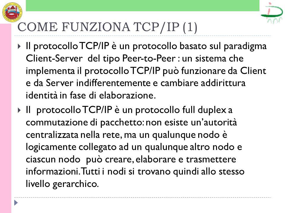 COME FUNZIONA TCP/IP (1) Il protocollo TCP/IP è un protocollo basato sul paradigma Client-Server del tipo Peer-to-Peer : un sistema che implementa il protocollo TCP/IP può funzionare da Client e da Server indifferentemente e cambiare addirittura identità in fase di elaborazione.