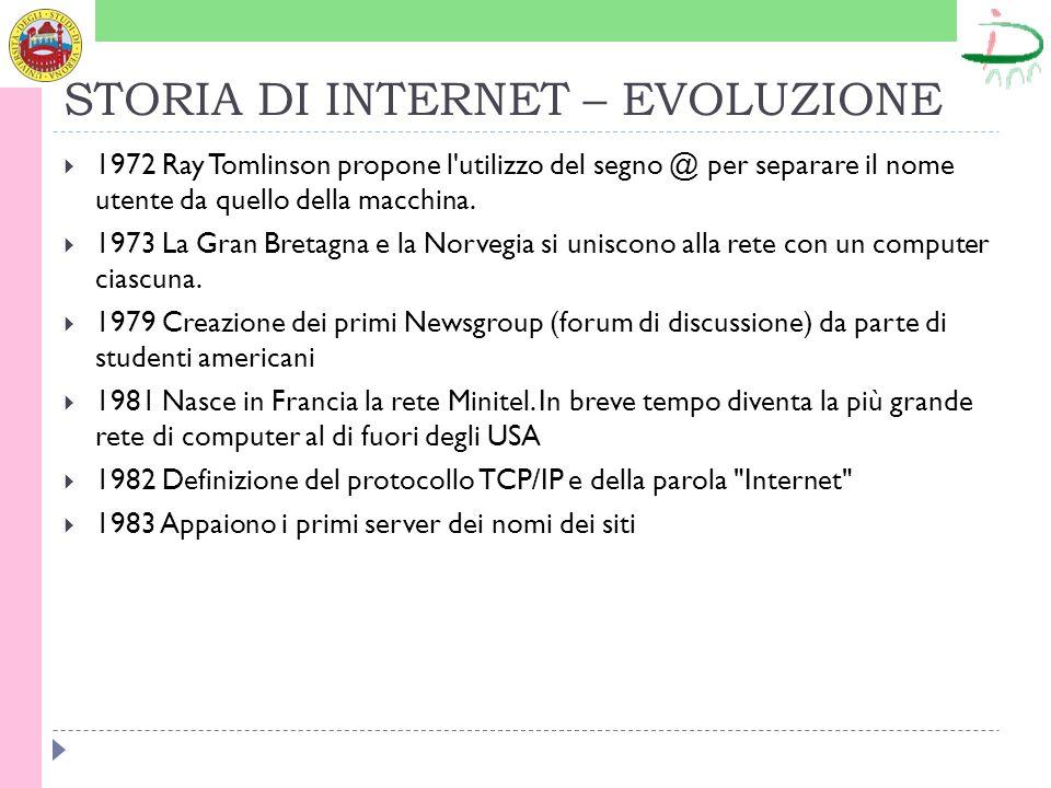 STORIA DI INTERNET - SVILUPPO 1984 La rete conta ormai mille computer collegati 1985 Sono assegnati i domini nazionali:.it per l Italia,.de per la Germania,.fr per la Francia, ecc.