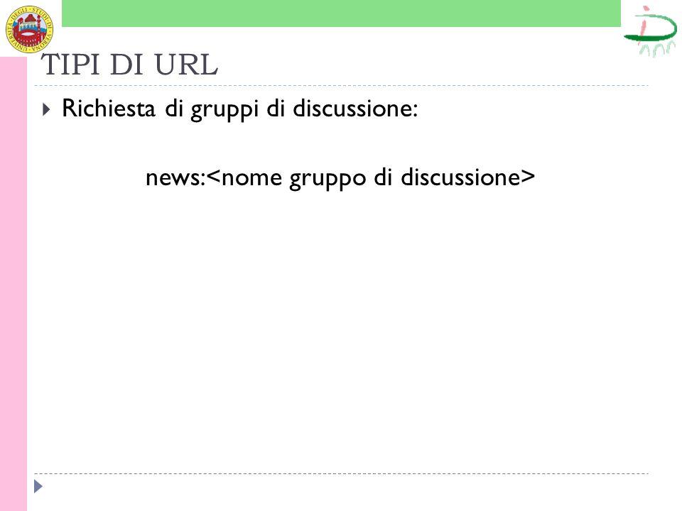 TIPI DI URL Richiesta di gruppi di discussione: news: