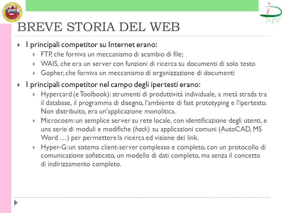 BREVE STORIA DEL WEB I principali competitor su Internet erano: FTP, che forniva un meccanismo di scambio di file; WAIS, che era un server con funzion