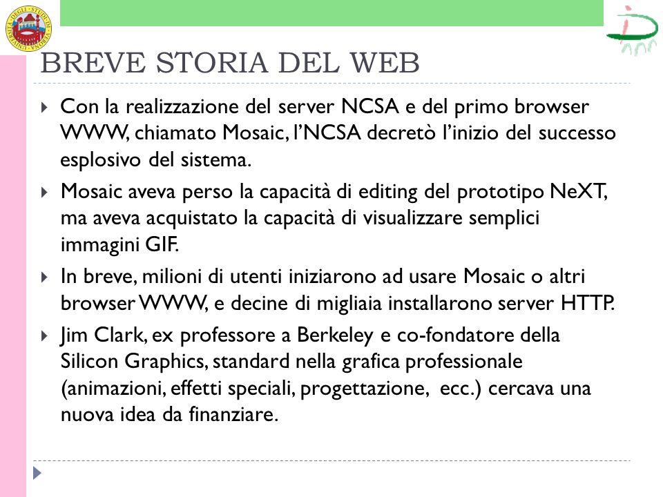 BREVE STORIA DEL WEB Con la realizzazione del server NCSA e del primo browser WWW, chiamato Mosaic, lNCSA decretò linizio del successo esplosivo del s
