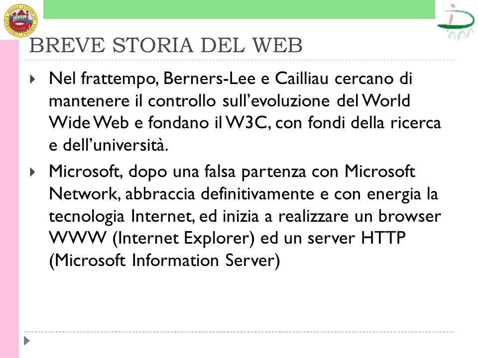 BREVE STORIA DEL WEB Nel frattempo, Berners-Lee e Cailliau cercano di mantenere il controllo sullevoluzione del World Wide Web e fondano il W3C, con fondi della ricerca e delluniversità.