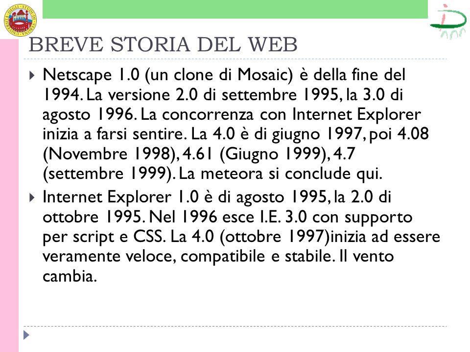 BREVE STORIA DEL WEB Netscape 1.0 (un clone di Mosaic) è della fine del 1994. La versione 2.0 di settembre 1995, la 3.0 di agosto 1996. La concorrenza