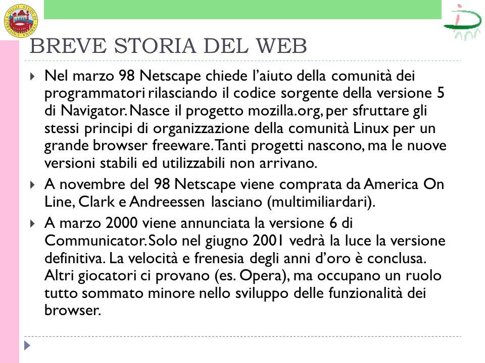 BREVE STORIA DEL WEB Nel marzo 98 Netscape chiede laiuto della comunità dei programmatori rilasciando il codice sorgente della versione 5 di Navigator
