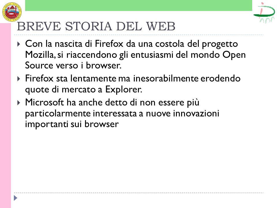 BREVE STORIA DEL WEB Con la nascita di Firefox da una costola del progetto Mozilla, si riaccendono gli entusiasmi del mondo Open Source verso i browse