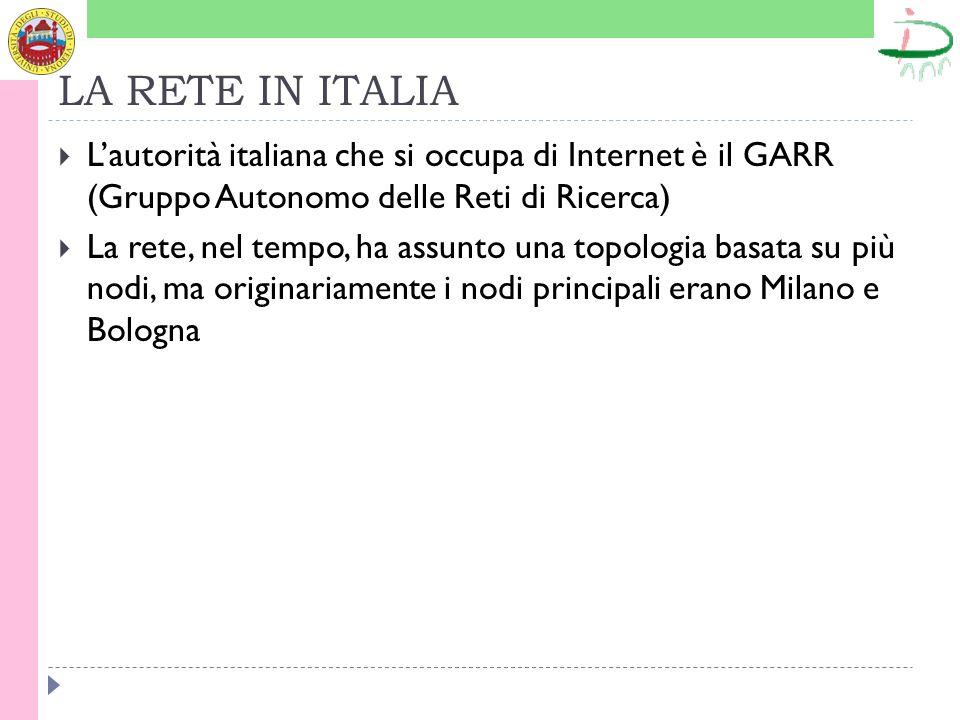 LA RETE IN ITALIA Lautorità italiana che si occupa di Internet è il GARR (Gruppo Autonomo delle Reti di Ricerca) La rete, nel tempo, ha assunto una to